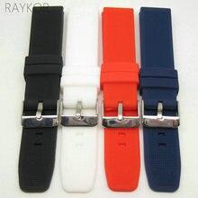Bracelet de montre en caoutchouc Silicone 20mm bracelet en Silicone souple pour montre décontractée à la mode mince noir blanc rouge bleu