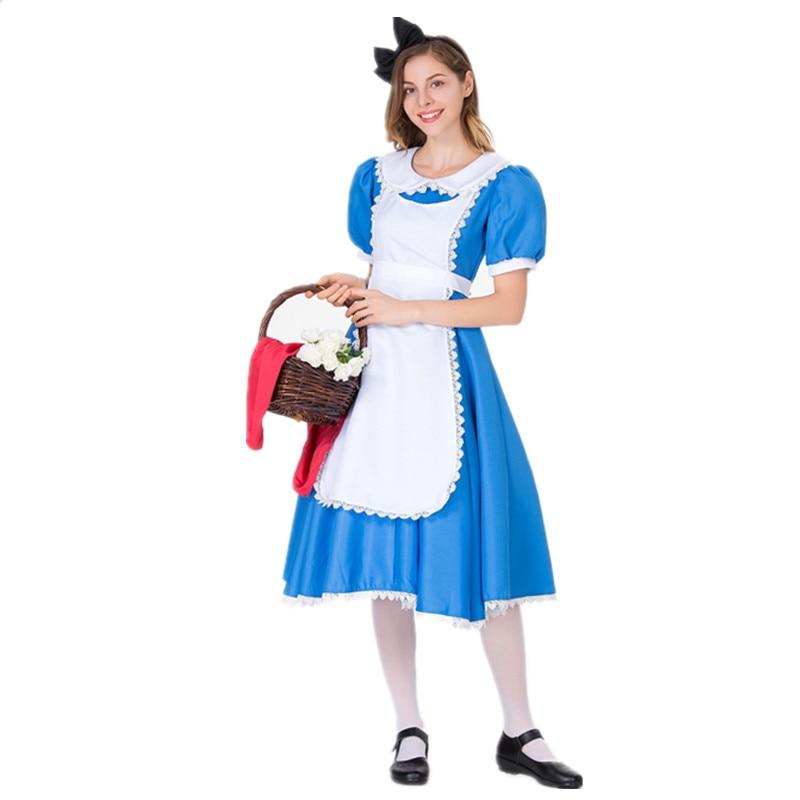 Halloween Alicia en el país de las Maravillas traje de camarera para Cosplay fiesta azul Cenicienta mucama vestido de lujo