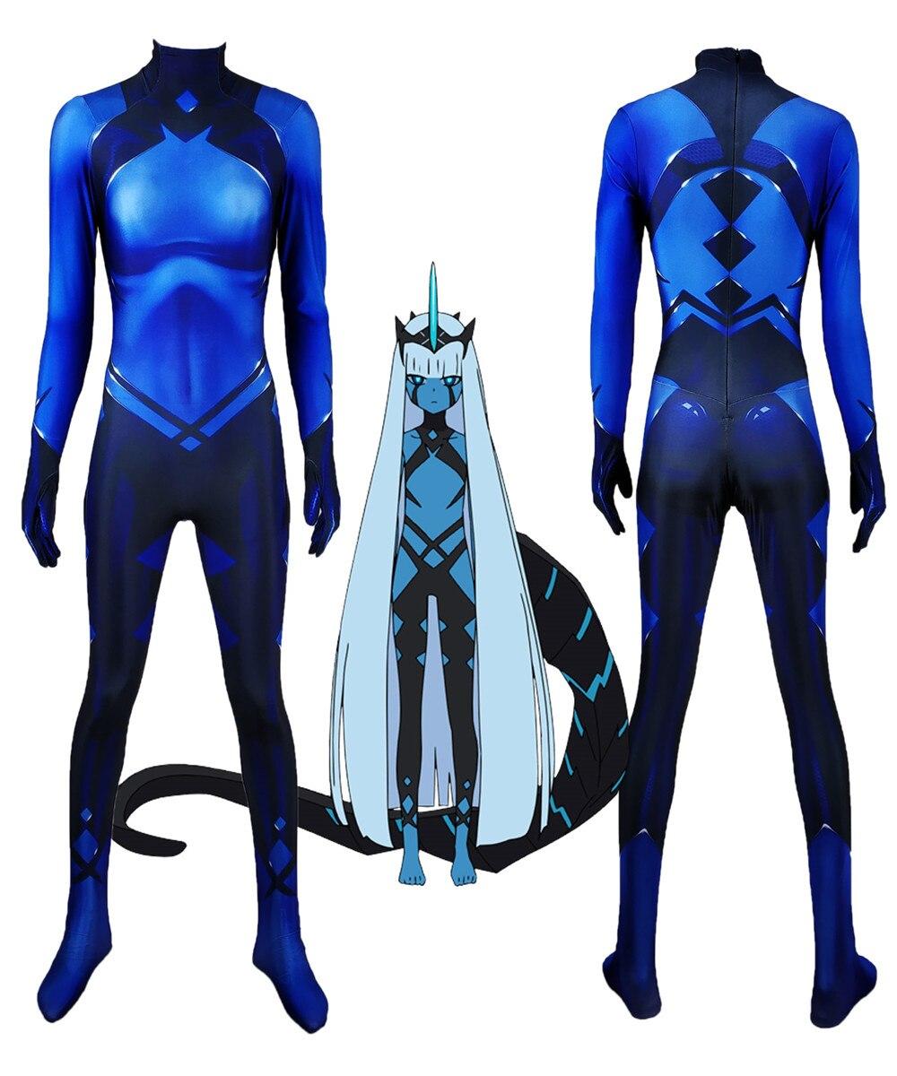 Klaxon princesse chérie dans le Franxx 001 Cosplay Costume 3D impression Lycra Zentai Halloween Catsuit body sur mesure