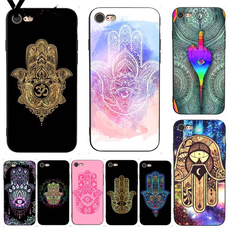 Funda Yinuoda para iphone 7 6 X, funda Hamsa Hand of Fatima Shining, accesorios bonitos para teléfono, funda para iPhone X 8 7 6 6S Plus X 5 5S SE 5C