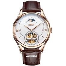 Nesun tourbillion automático mecánico esqueleto relojes de hombres de la marca de lujo reloj de los hombres impermeable reloj masculino reloj N9038-1