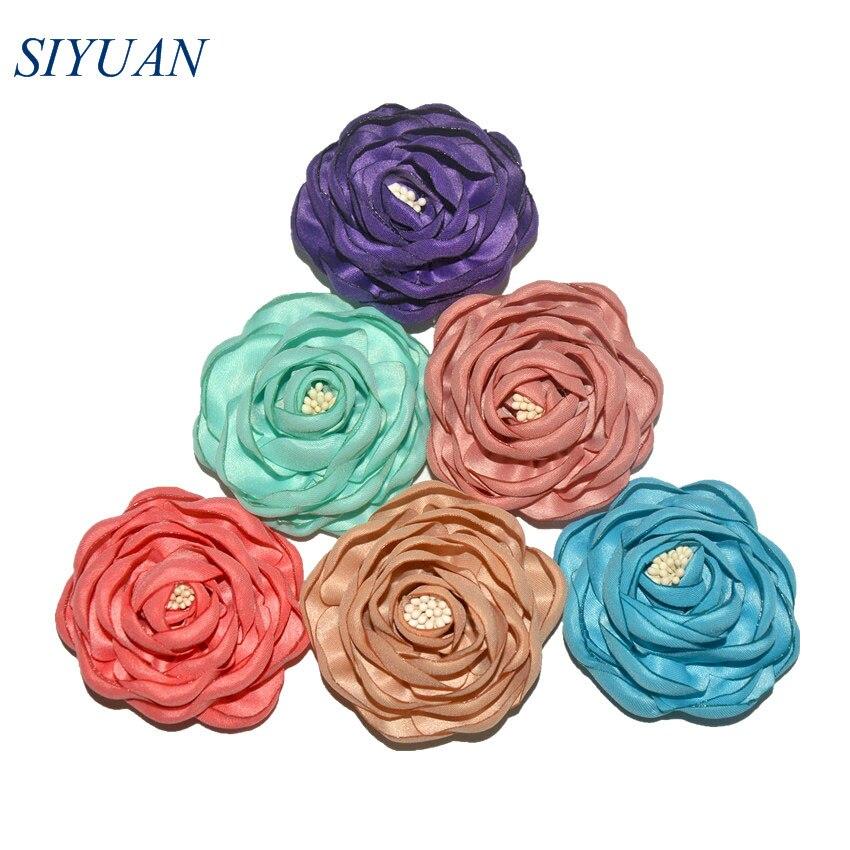 5pcs/lot 2.4'' Classic Burned Fabric Satin Camelia Flower with Hair Clip 20 Popluar Colors Girl Hair Accessory TH284