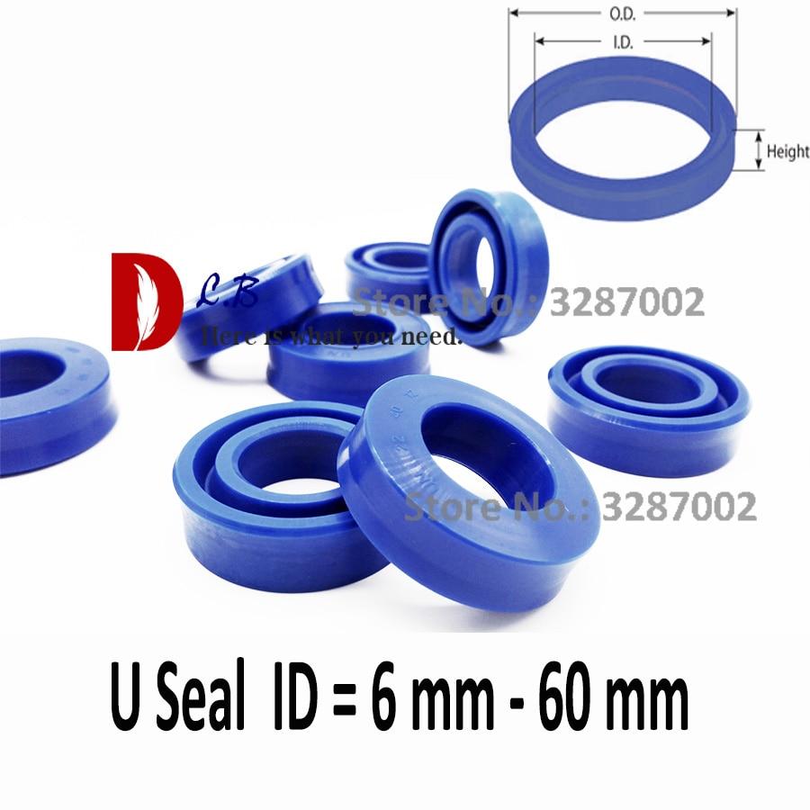 UHS U sello ID = 6mm-60mm U taza única labio cilindro hidráulico pistón y varilla sello U anillo de poliuretano (PU) de caucho