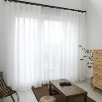 modern white window curtains tulle cotton linen treatment for living room bedroom home decoration