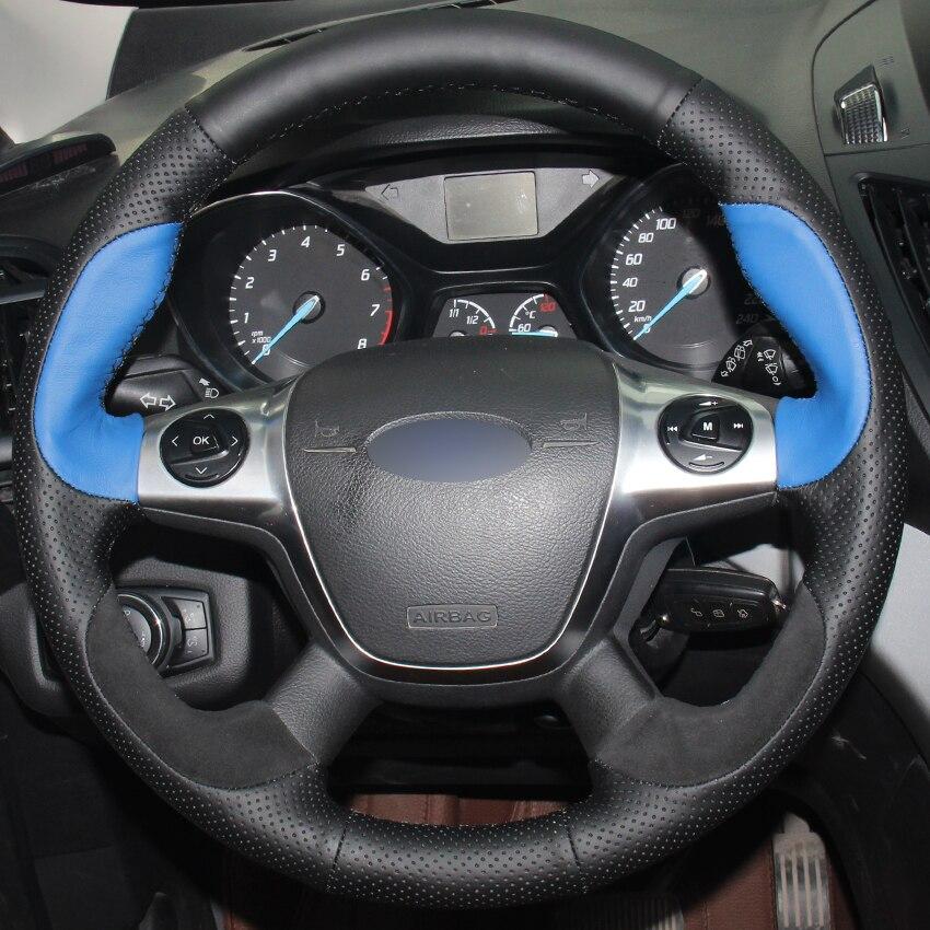 Cuero negro Natural azul cuero Natural ante negro protector para volante de coche para Ford Focus 3 2012-2014 KUGA Escape 2013-2016