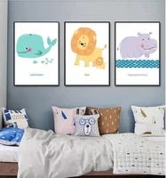 nordic poster minimalist animal decorative painting no frame watercolor cartoon canvas prints for kid39s room wall art picture