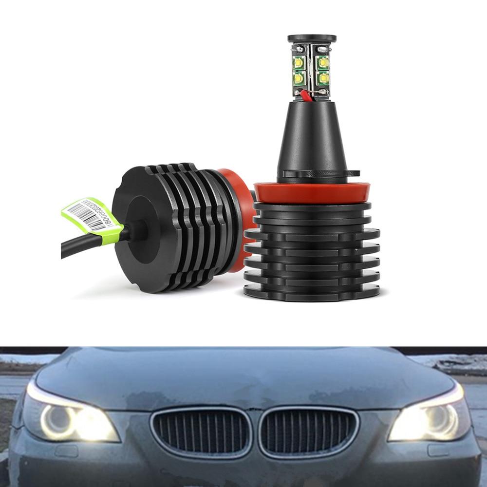 2 pcs Car Angel Eyes light Headlight Lamp white for BMW E90 E92 E82 E60 E70 X5 E71 X6 fog lights H8 Headlamps Led CANBUS Free