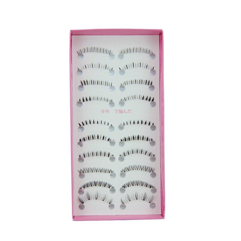 Cílios 10 par cílios de olho extensão natural artesanal longo cílios falsos preto moda cílios postiços 2019 jan23