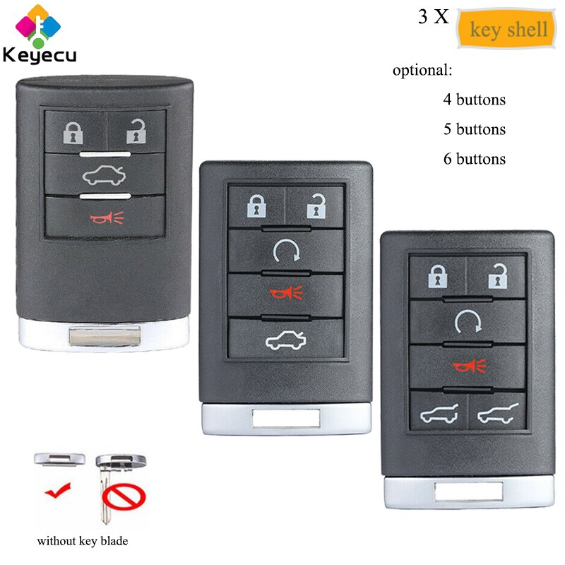 Keyecu 3 pçs/lote remoto chave do carro caso escudo capa com 4 5 6 botão-fob para cadillac dts sts srx cts escalade esv ext ouc6000066