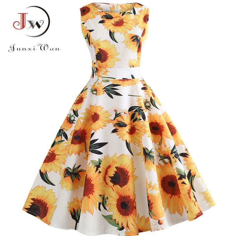 Women Summer Dress Sleeveless Floral Print A-Line Sexy Party Dresses Jurken Elegant Vintage Dress Belt Plus Size Sundress