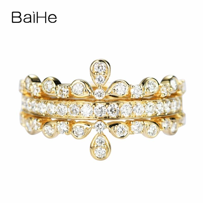 BAIHE-خاتم من الذهب الأصفر عيار 14 قيراطًا مرصع بالألماس الطبيعي المستدير ، خاتم من الذهب الأصفر عيار 14 قيراطًا مرصع بالألماس الصناعي ، للنساء