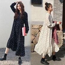 플러스 사이즈 2019 봄 여름 유럽 스타일 브랜드 cothing 느슨한 긴 소매 여성 드레스 인쇄 도트 리넨 vestidos o-넥 가운
