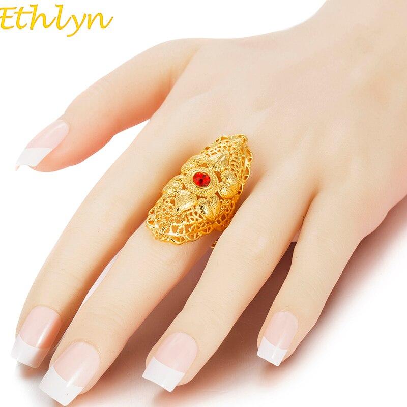 Ethlyn nueva Roja Etíope de piedra anillo de bodas para las mujeres anillo de color dorado eritrea, África de anillo de moda de medio joyería oriental R73