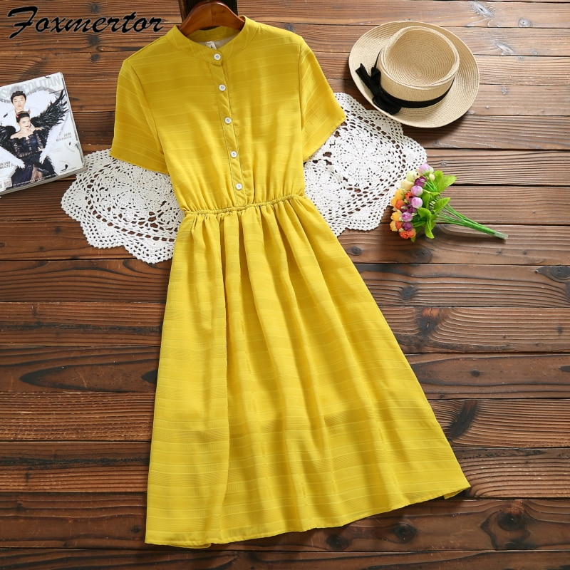 Vestido de verão feminino gola casual solto sólido manga curta boho vestido maxi vestidos amarelos túnica vestidos femininos e144
