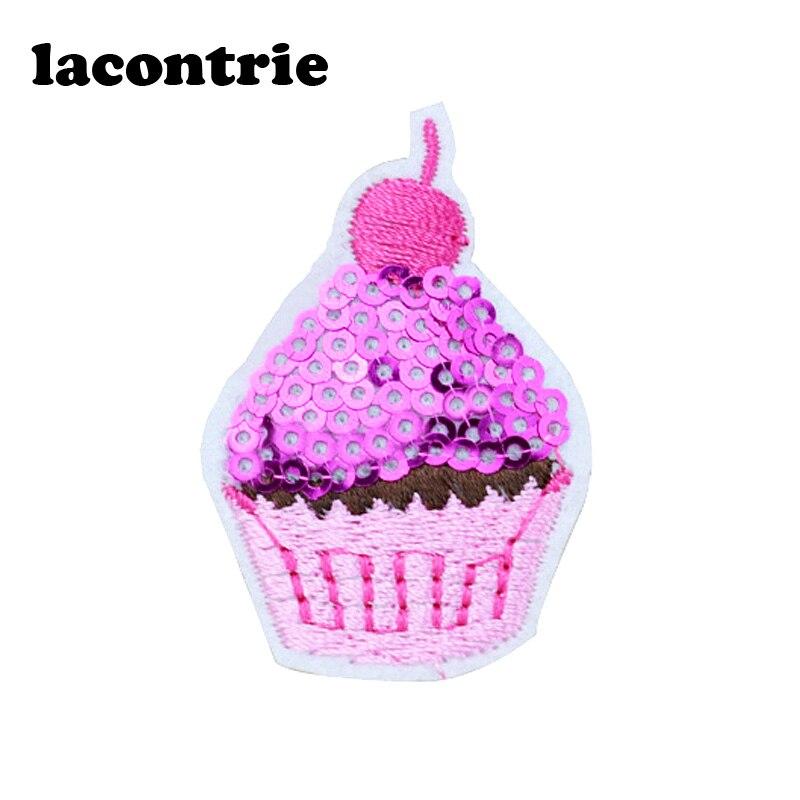 Cekiny cupcake naszywki na ubrania żelazko na plastry diy moda haftowana naszywka aplikacja ropa naklejki na ubrania