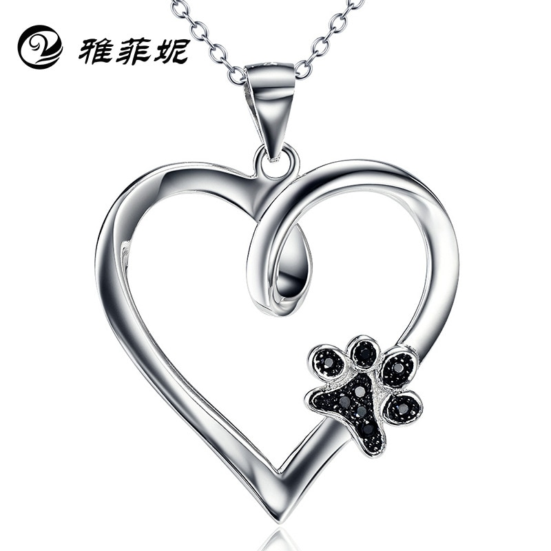 S925 joyería de plata perro garra colgante corazón con diamante collar Mujer