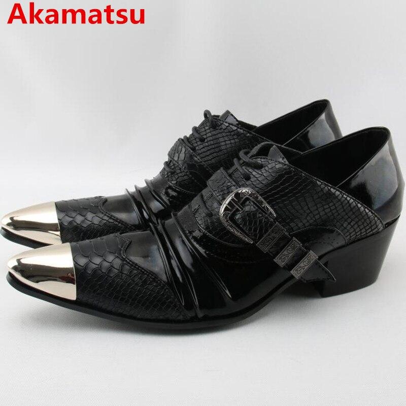 Akamatsu-حذاء إيطالي بمقدمة مدببة من الجلد الطبيعي الأسود ، حذاء رجالي بكعب عالٍ من أكسفورد