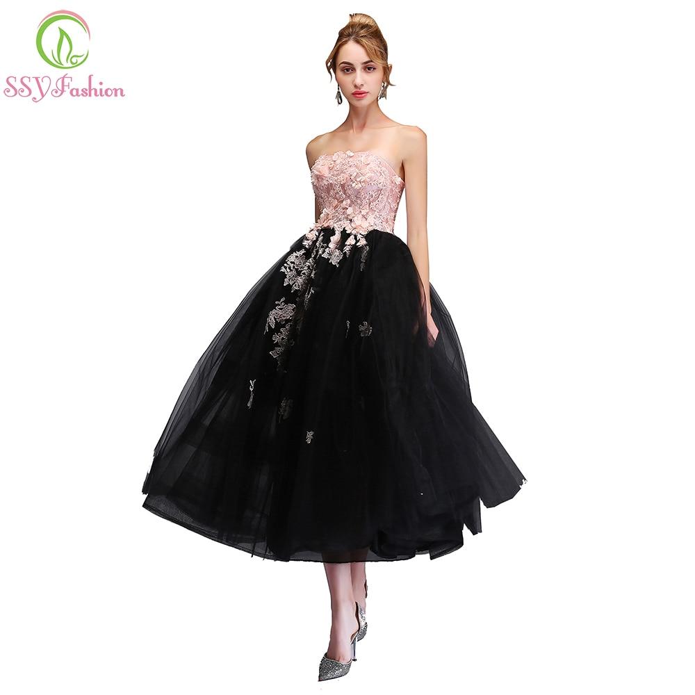 SSYFashion nowy słodki różowy z czarną wieczorową sukienką bez ramiączek bez rękawów koronkowe aplikacje długość do herbaty suknia wieczorowa sukienki wizytowe
