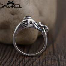 Gagafeel elefante vintage feminino anéis moda pura 925 prata esterlina preto branco cz cristal animal aberto jóias anéis dropship