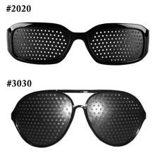 Heißer Schwarz Unisex Vision Care Pin loch Brille pinhole Brille Eye-übungs-sehvermögen Plastik Natürliche Heilung Günstige