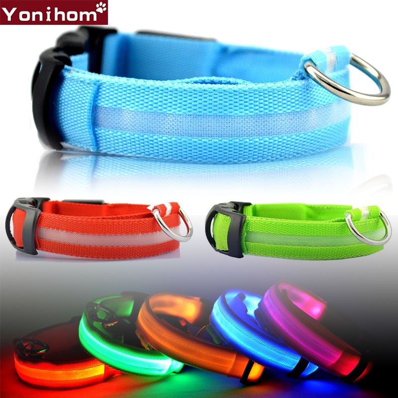 Nylon LED Pet Dog Collar Night Safety Flashing Glow In The Dark Dog Leash Dogs Luminous Fluorescent Collars For Small Dogs Cats led pet nylon dog collar night safety flashing glow in the dark dog leash dogs luminous fluorescent collars collar perro
