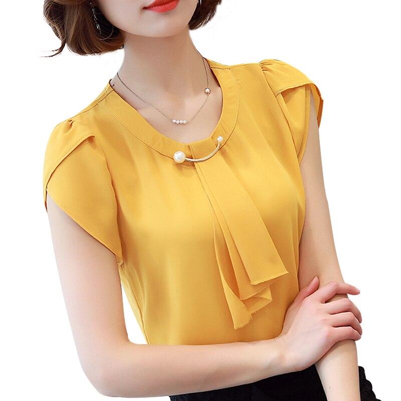 Blusa de chifón de color liso para verano 2018, Blusa de manga corta para mujer, Blusas de oficina para mujer, Blusas de moda para mujer