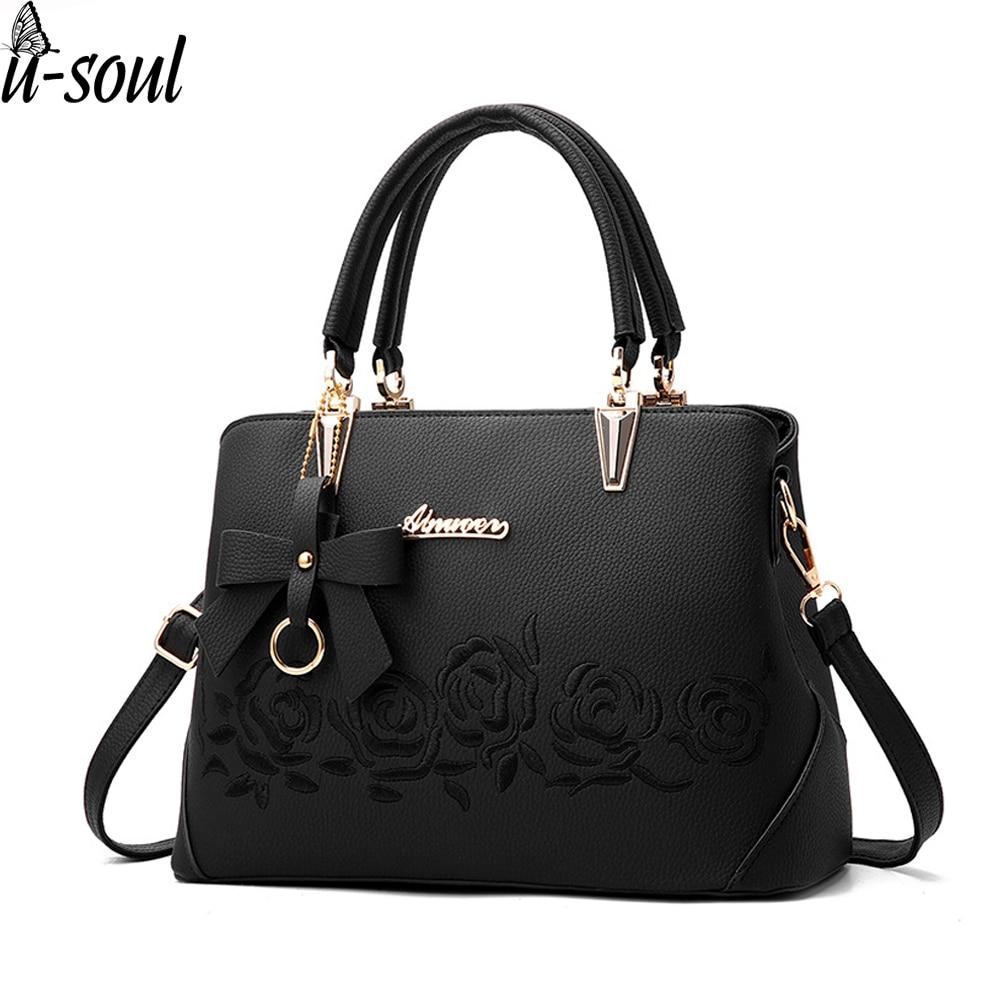 Women Bag Vintage Handbag Casual Tote Fashion Women Messenger Bags Shoulder Top-Handle Purse Wallet Leather 2020 Black A1834