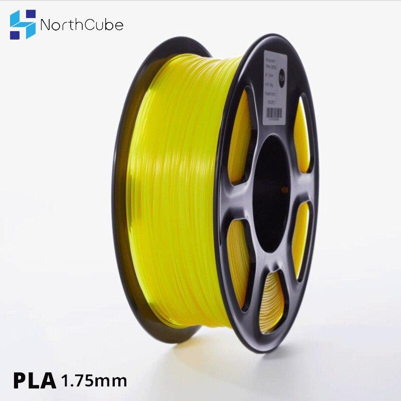 3D printer PLA Filament 1.75mm  for 3D Printers, 1kg(2.2lbs) +/- 0.02mm transparent-yellow color