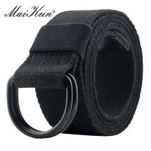 Maikun Tactical Canvas Men Belt High Quality Unisex Double D-Ring Buckle Waistband Casual Canvas Female Belt Fabric For Jeans