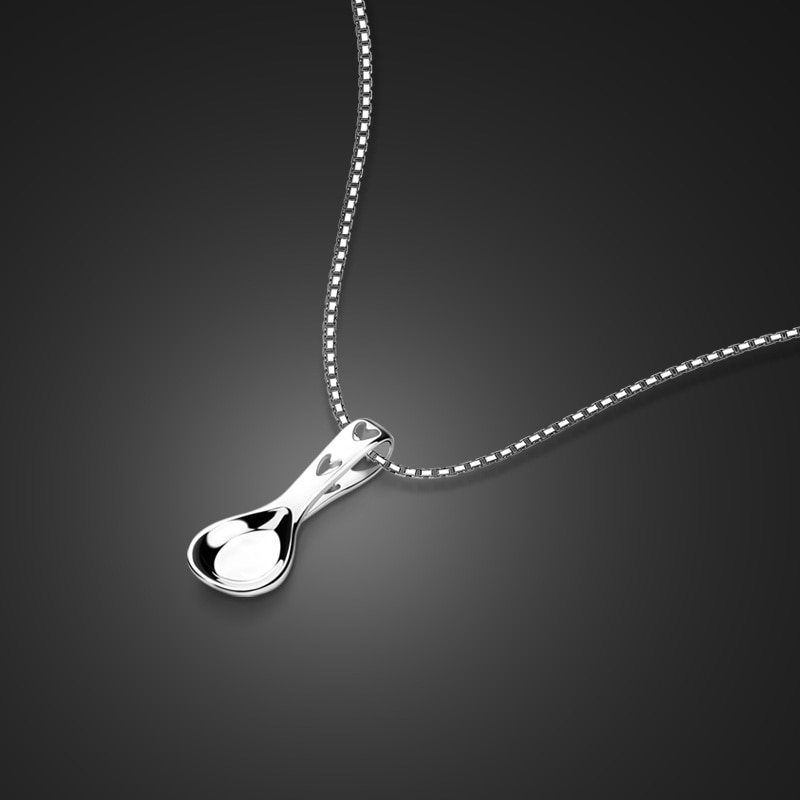 Nova moda idéia colher pingente jóias. Genuíno 100% 925 prata esterlina caixa colar para mulher. Acessórios de prata por atacado