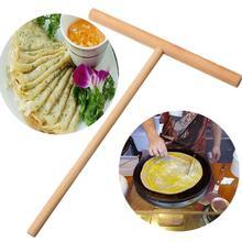 Bâton en bois T lettre accessoires de cuisine   Bâton de crêpe lisse, cuiseur à œufs, poêle à rabat antiadhésif, cuisson maison 1 ensemble