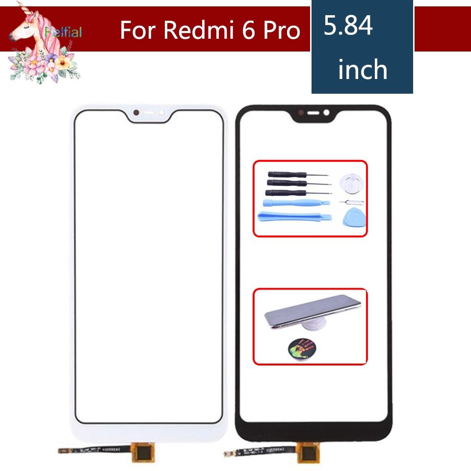 10 قطعة/الوحدة ل Xiaomi Redmi 6 برو 6PRO مي A2 لايت تاتش شاشة محول الأرقام لوحة اللمس الاستشعار الجبهة الزجاج الخارجي لمس