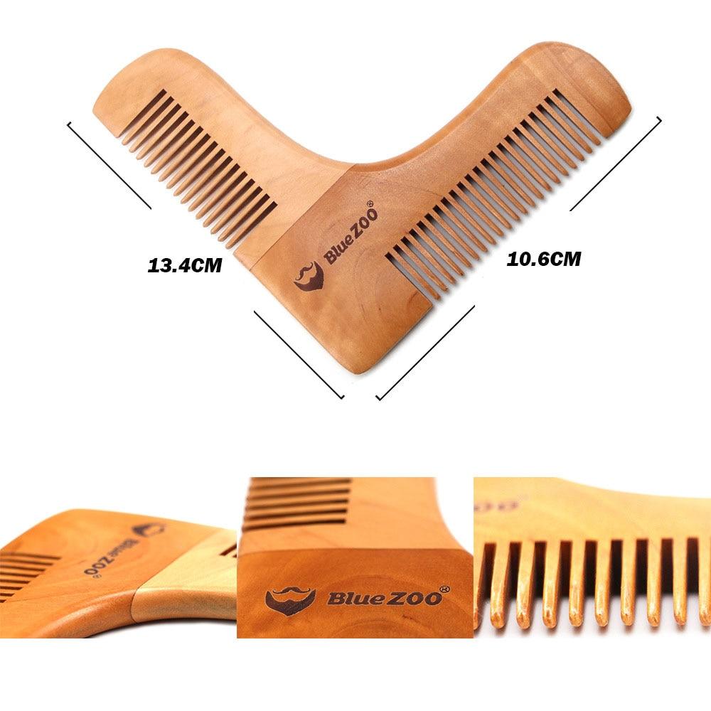 Nuevo peine Anti-pérdida de cabello de madera con diseño de doble cara Plantilla de adorno de barba