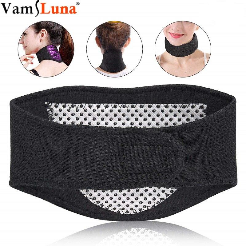 Pescoço de calor de raio infravermelho distante, suporte de pescoço cinta turmalina massageador cinta de apoio para homens e mulheres alívio dor flexível