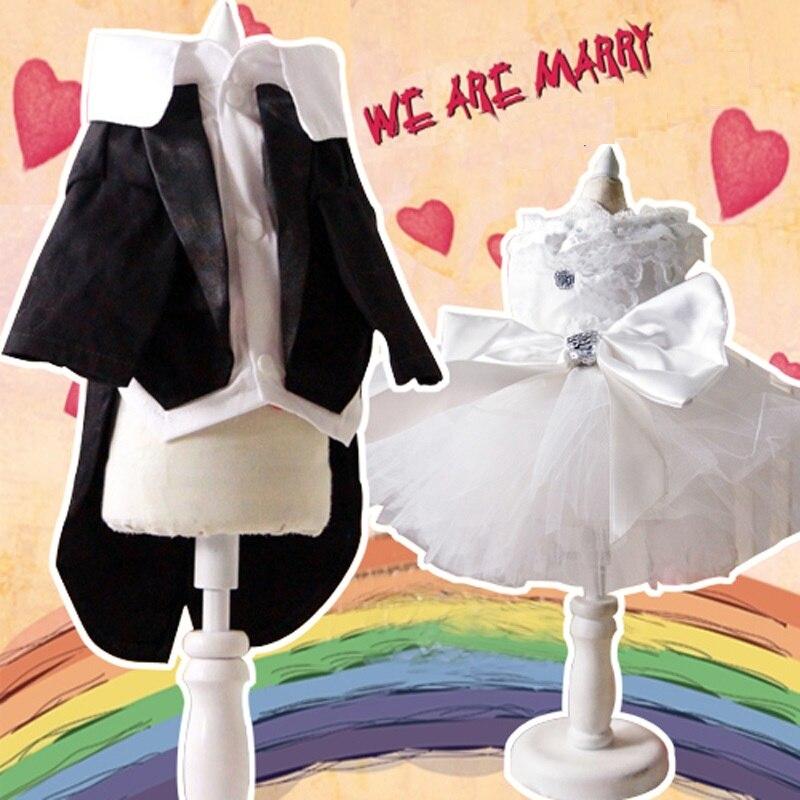 Princesa gato perro boda Vestido Gato esmoquin para mascota novia novio traje Formal Chihuahua Poodle ropa para perro pequeño