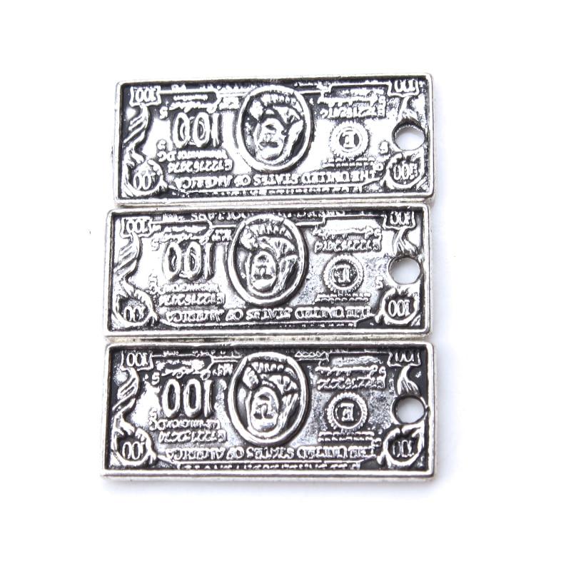 10 unids/lote 21x9mm amuletos de dinero Color plata antiguo 100 dólares para DIY Charms pulsera brazalete accesorios de joyería hallazgos