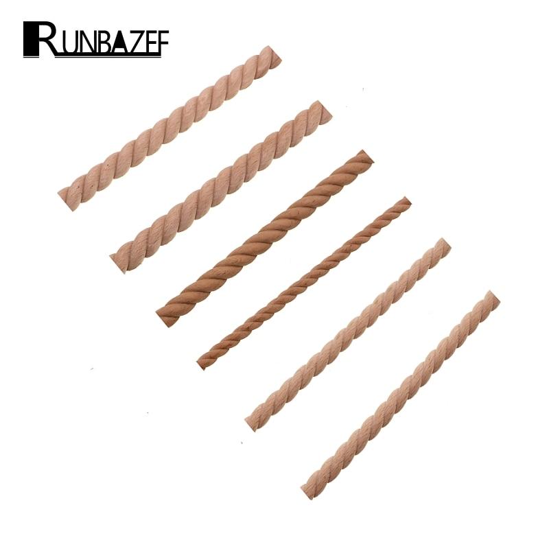 RUNBAZEF Wooden Carved Woods Twist Lines Style Decorative Indoor Door Semi Home Decoration Accessories Figurines Miniatures
