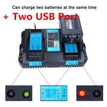 Lumière LED 18 V double chargeur de batterie pour Makita BL1860 BL1815 BL1830 BL1835 LXT 400 DC18RD Makita 14.4 V-18 V avec Port USB