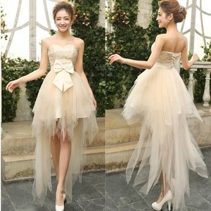 Custom Made Hot Selling Best Sale 2020 Sashes Sleeveless Sweetheart Neck Short Front Long Back Prom Dresses with Bow