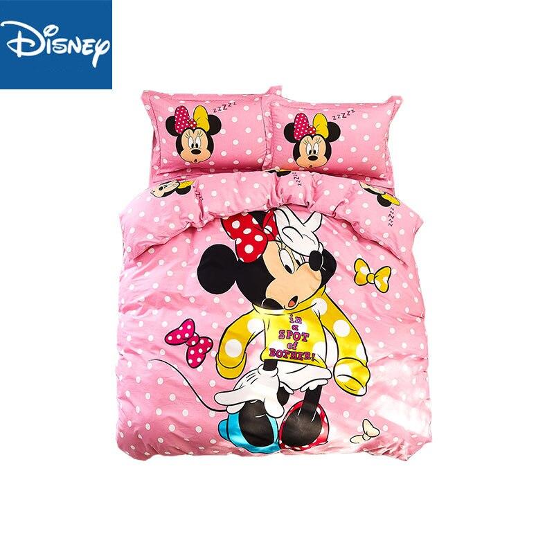 Disney Minnie Mouse couette ensembles de literie unique king size 3/4PC couvre-lit belle taie doreiller enfant décor à la maison 100% coton