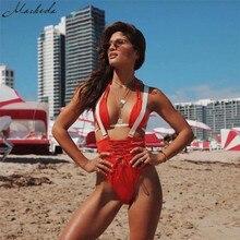 Macheda Sexy Fashion Strappy Backless Bodysuit Women Black Red Sleeveless Summer Beach Hot Bodysuits 2018 Slim Bodysuit
