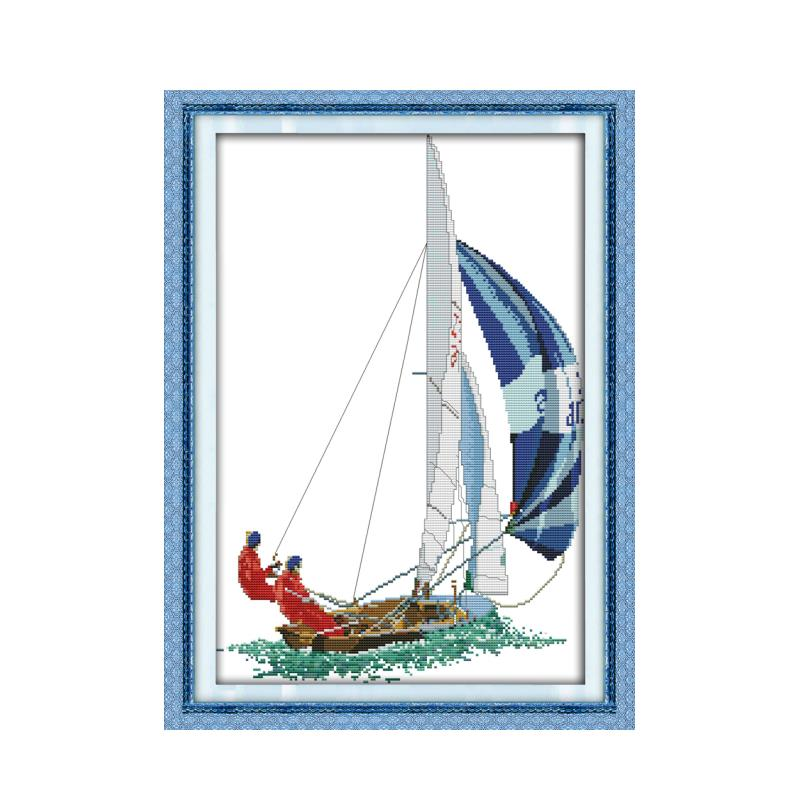 Barco de vela água diversão diy bordado cruz-ponto figura manual material costura decoração da parede presente