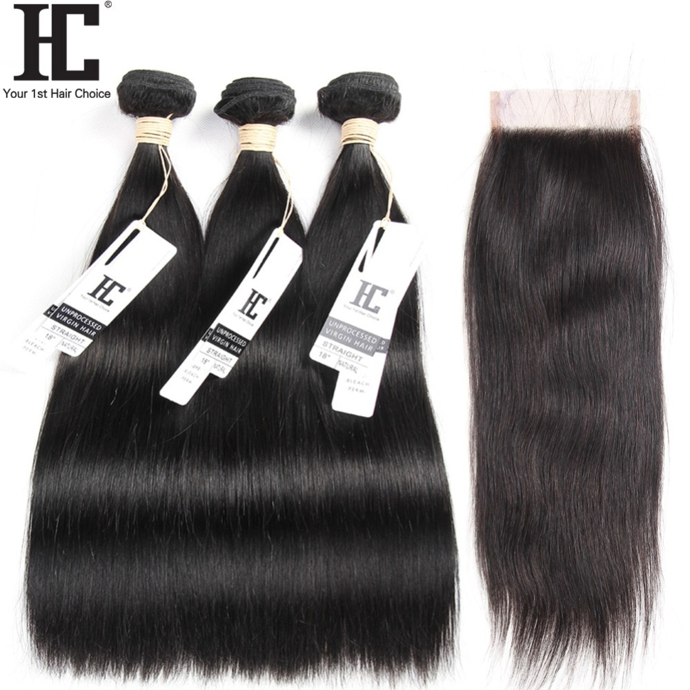 HC Brazilian Straight Hair With Lace Closure Remy 3 Bundles Hair Weave With Lace Part Closure Human Hair Bundles With Closure