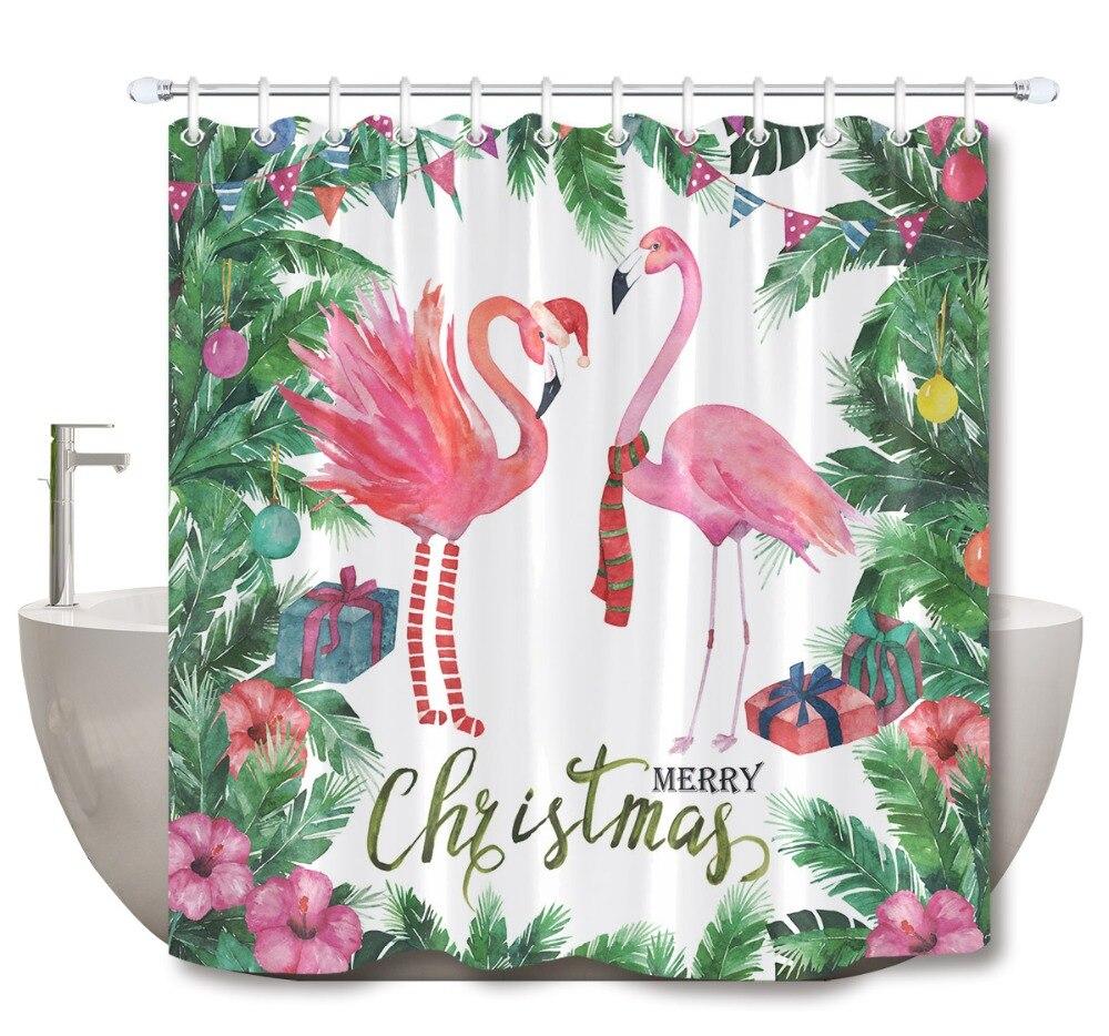 Cortinas de ducha con marco Tropical de Navidad LB, cortina de baño, acuarela, palmera, flamenco, tela impermeable para decoración de bañera
