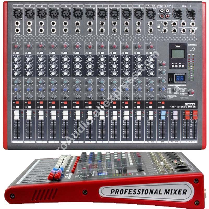 Microwl LE12 Pro 12 Ch 99 DSP efectos estéreo micrófono mezclador sonido mezcla consola MP3 USB 48V 24-Bit Multi-FX procesador
