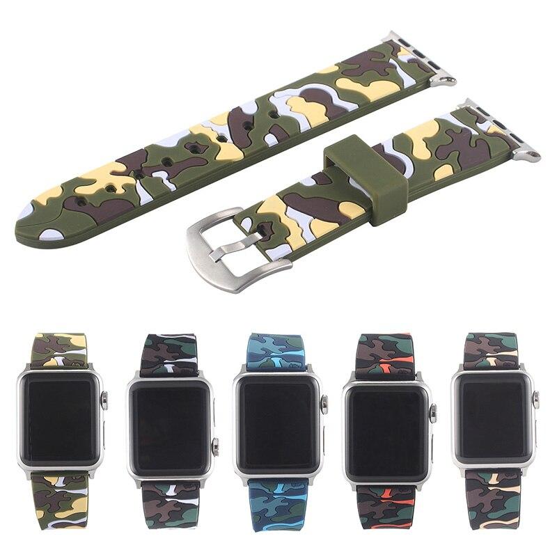 Fohuas camo silicone esportes cinta 38mm para apple relógio acessório pulseira substituição 42mm link pulseira série 1 série 2
