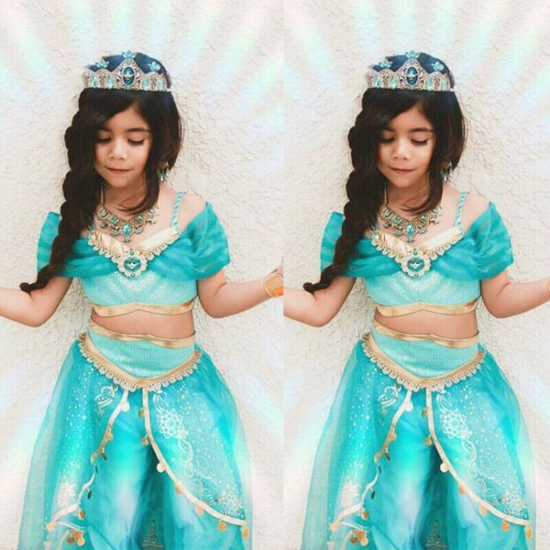 Tailândia Estilo Indiano Meninas Do Bebê Roupa Dos Miúdos Da Princesa T-shirt Vest Tops + Calças de Malha Lace Outfit Roupas Festa de Halloween Cosplay