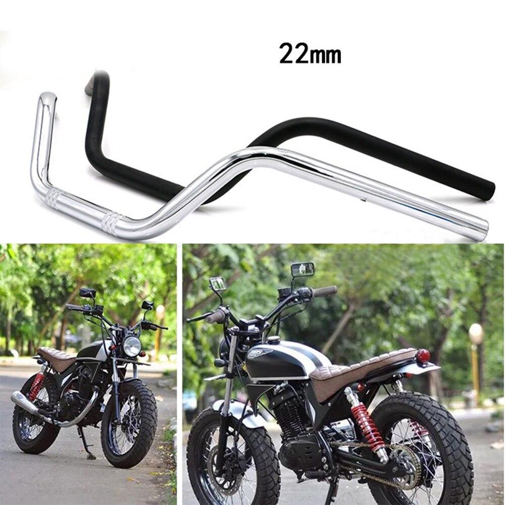 """Manillar de aluminio de motocicleta de 7/8 """"22mm Vintage para Honda CB125S CB200 CG Moto Scooter Retro negro accesorios antioxidantes"""
