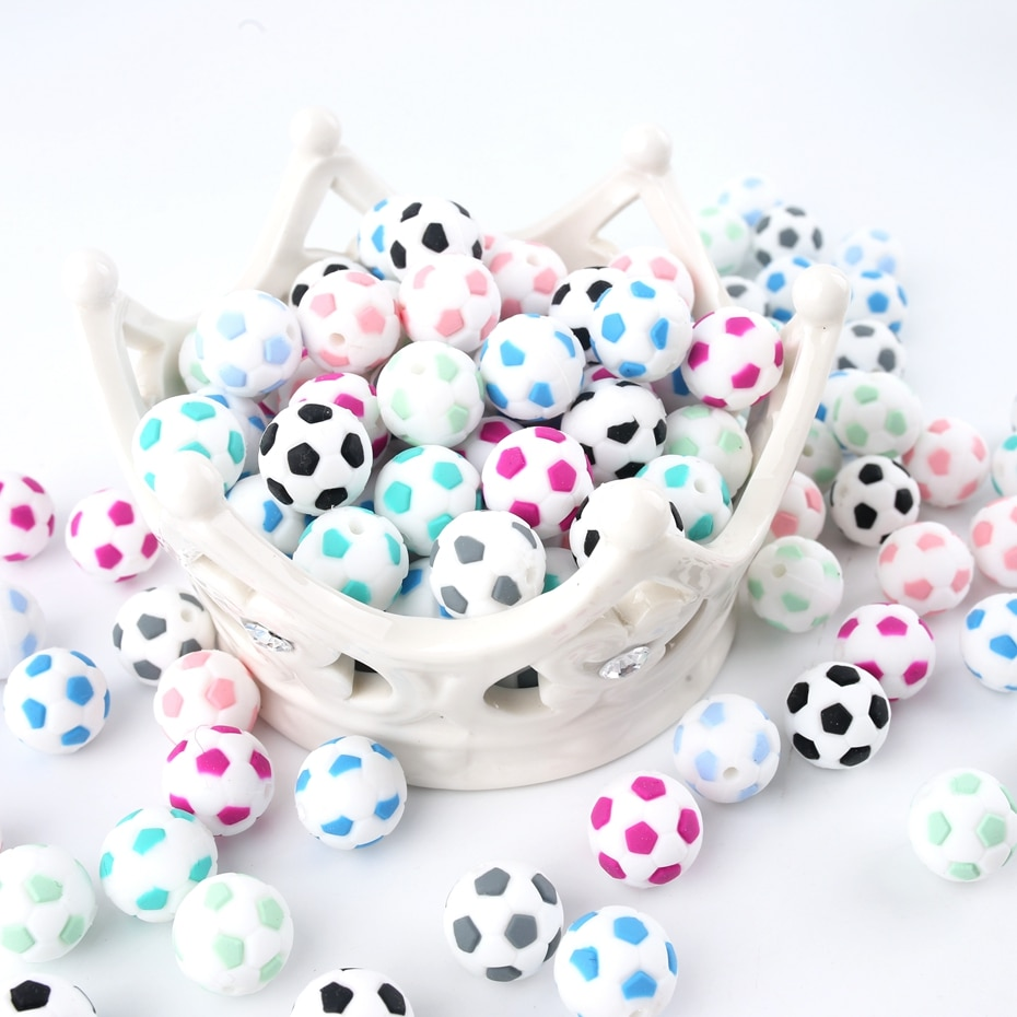 Фото - Bite Bites 5PC Cute Football Shaped Silicone Beads 15mm DIY Jewelry Accessories Necklace Made Soccer Food Grade Baby Teether ann waterhouse football made simple