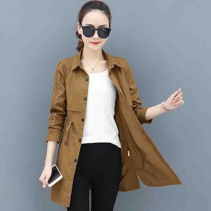 Trench Coat For Women 2019 Spring Autumn Single-breasted Slim Medium Long Coat Long sleeve Plus size